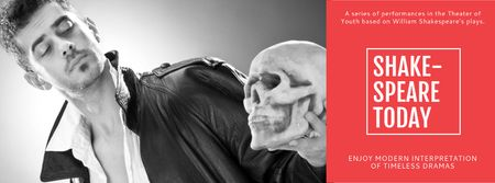 Plantilla de diseño de Theater Invitation with Actor in Shakespeare's Performance Facebook cover