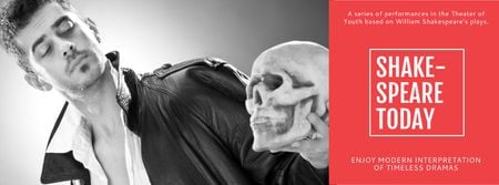 Theater Invitation with Actor in Shakespeare's Performance Facebook cover Modelo de Design