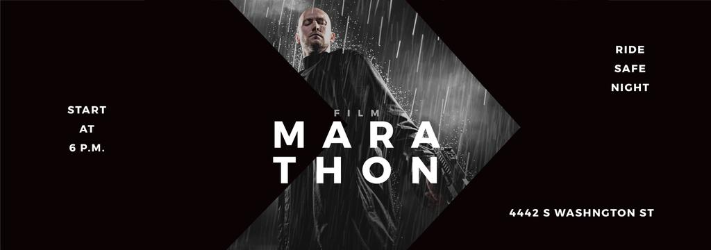 Film Marathon Ad Man with Gun under Rain — Crea un design