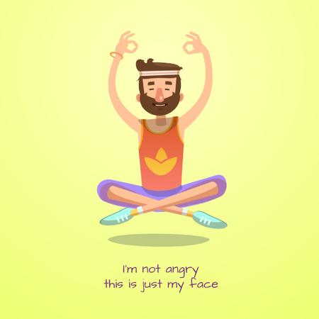 Hippy man meditating Animated Post – шаблон для дизайну