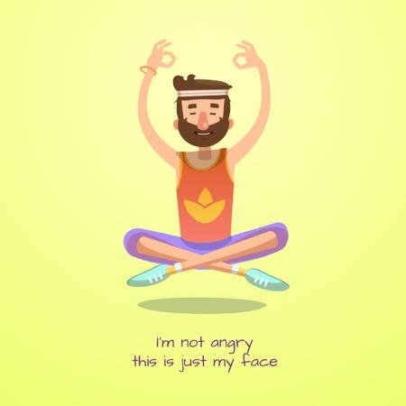 Template di design Hippy man meditating Animated Post