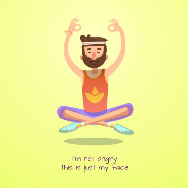 Ontwerpsjabloon van Animated Post van Hippy man meditating
