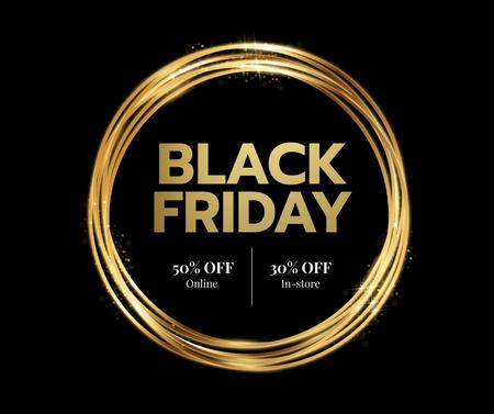 Template di design Black Friday sale in golden frame Facebook