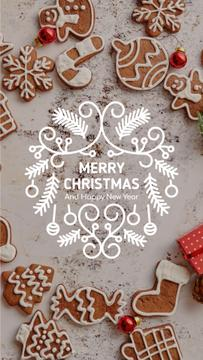 Christmas Greeting Gingerbread Cookies | Vertical Video Template