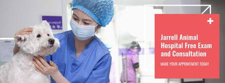 Designvorlage Vet examines a dog in Animal Hospital für Facebook cover