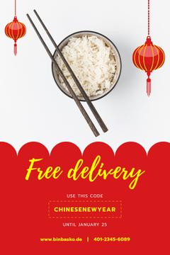 Chinese New Year Offer Cooked Rice Dish | Pinterest Template