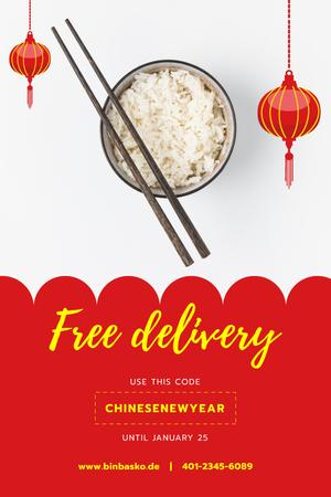 Chinese New Year Offer with Cooked Rice Dish Pinterest Tasarım Şablonu