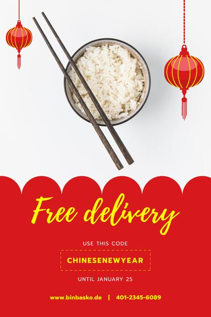 Ontwerpsjabloon van Pinterest van Chinese New Year Offer with Cooked Rice Dish
