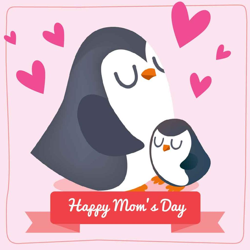 Mother's day greeting with Cute Penguins — Создать дизайн