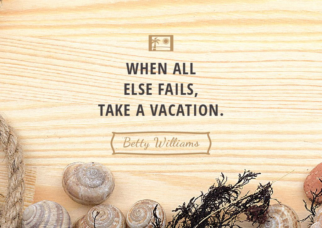Travel inspiration with Shells on wooden background — Створити дизайн