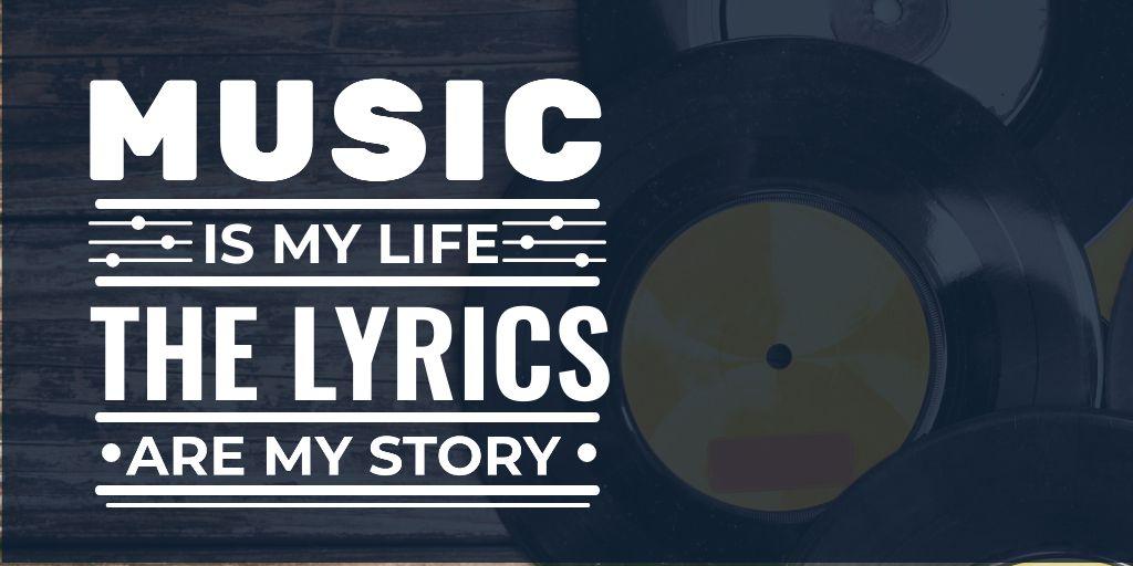 Citation about Music with vinyl — Créer un visuel
