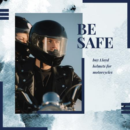 Safety Helmets Promotion with Couple riding motorcycle Instagram AD – шаблон для дизайну
