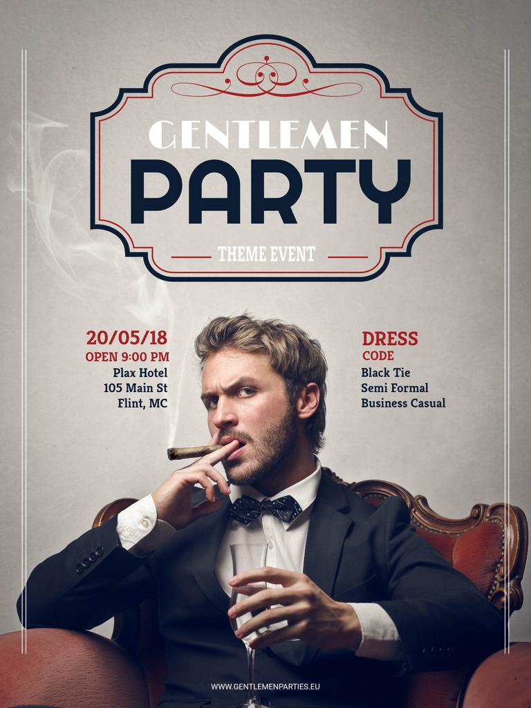 Gentlemen party invitation with Stylish Man – Stwórz projekt