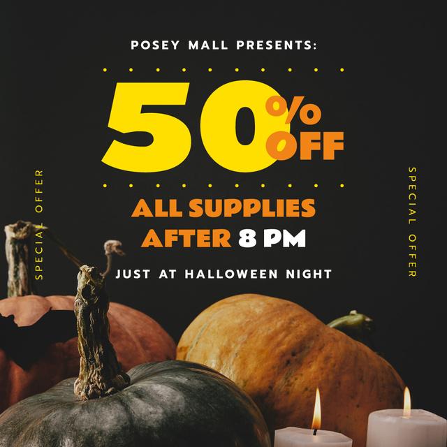 Ontwerpsjabloon van Instagram van Halloween Night Sale Decorative Pumpkins and Candles