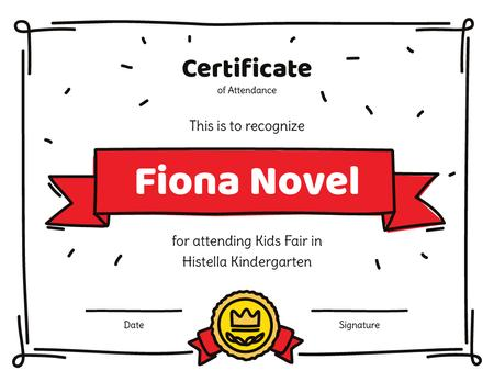 Kids Fair attendance confirmation Certificate Modelo de Design