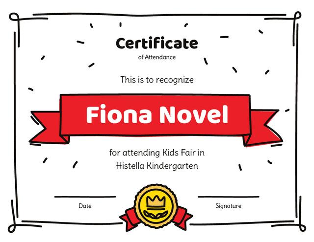 Modèle de visuel Kids Fair attendance confirmation - Certificate
