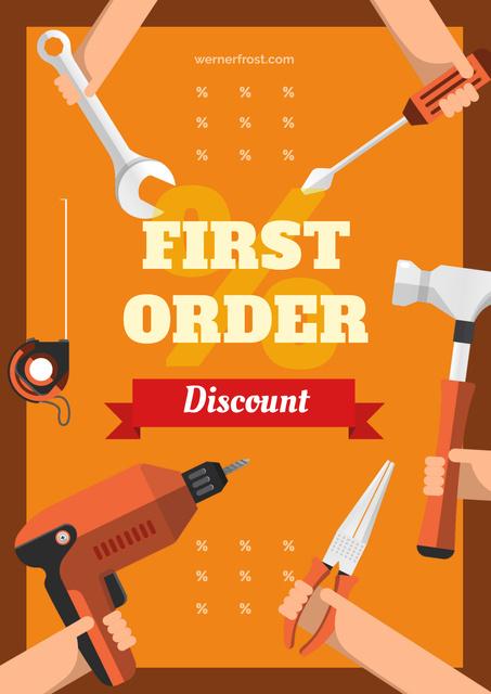 Ontwerpsjabloon van Poster van Hands with tools for renovation