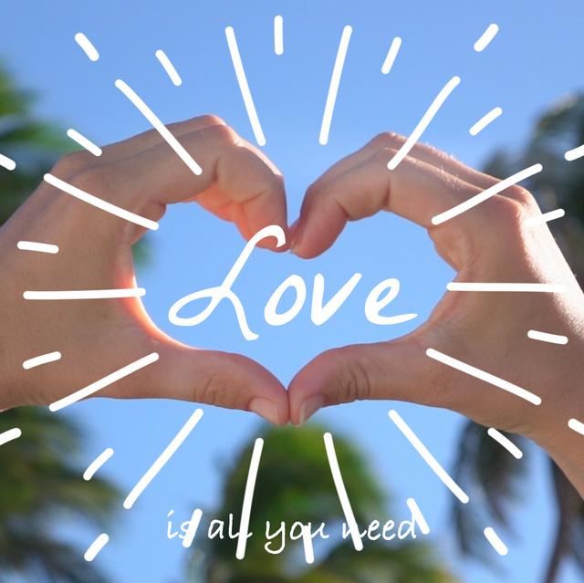 Designvorlage Hands showing heart sign für Animated Post