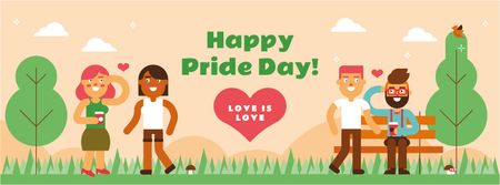 LGBT romantic couples on Pride Day Facebook cover Modelo de Design