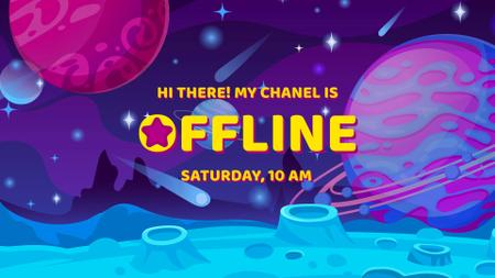 Plantilla de diseño de Illustration of Magic Planets in Space Twitch Offline Banner