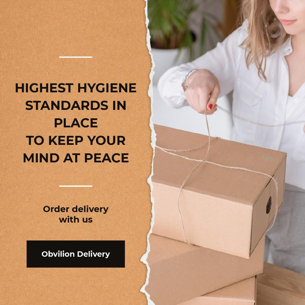 Highest Hygiene Standards Delivery Services Woman with boxes — Crear un diseño