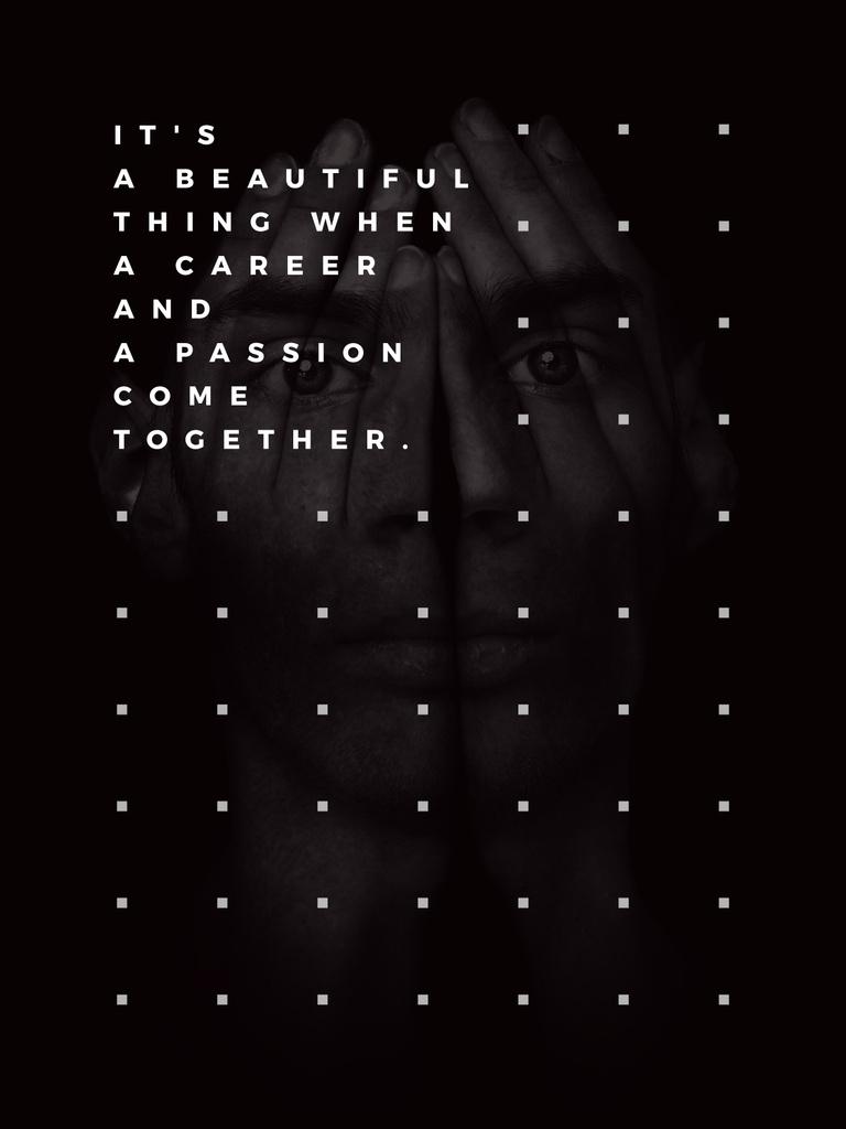 Career inspirational Quote on Man face — Crea un design