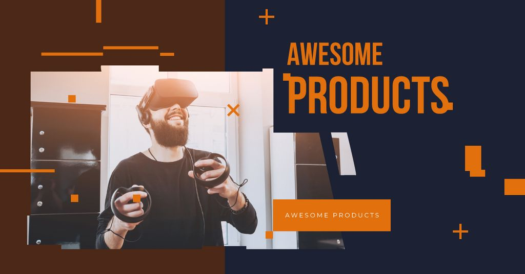 Man using vr glasses — Створити дизайн