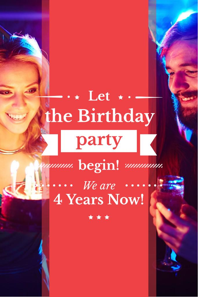 Birthday invitation card with young couple and cake Pinterest Design Template
