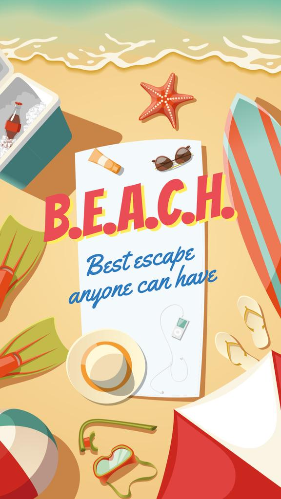 Travelling stuff on beach — Crea un design