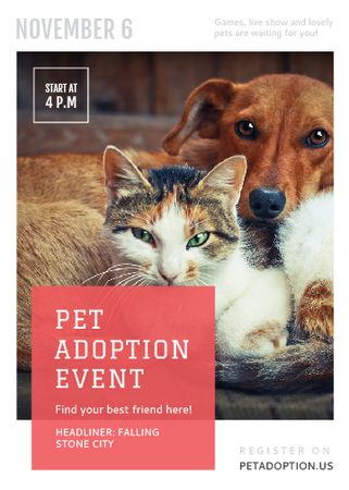 Designvorlage Pet Adoption Event Dog and Cat Hugging für Flayer