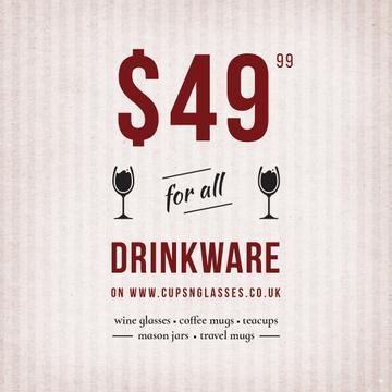 Drinkware Sale with Wine Glasses illustration
