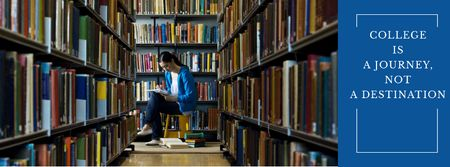 Young woman in library with quote Facebook cover Modelo de Design