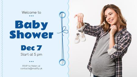 Baby Shower invitation with Pregnant Woman FB event coverデザインテンプレート