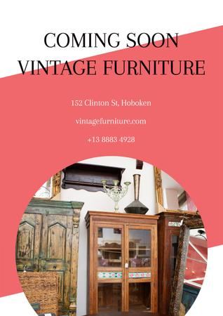 Vintage furniture shop Opening Poster Modelo de Design