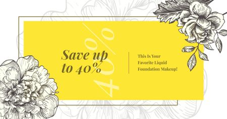 Cosmetics Ad Flowers Illustration Frame in Yellow Facebook AD Tasarım Şablonu