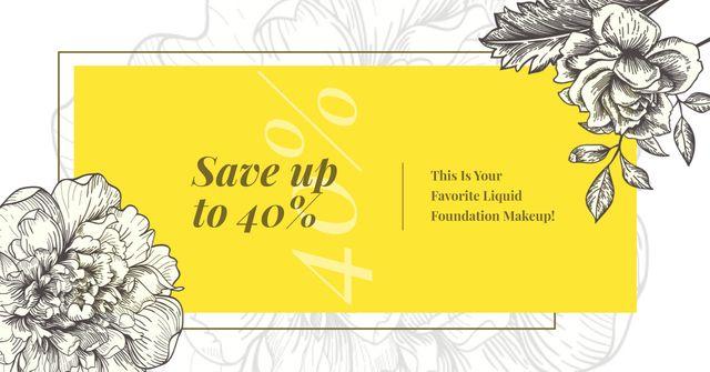 Cosmetics Ad Flowers Illustration Frame in Yellow Facebook AD Modelo de Design