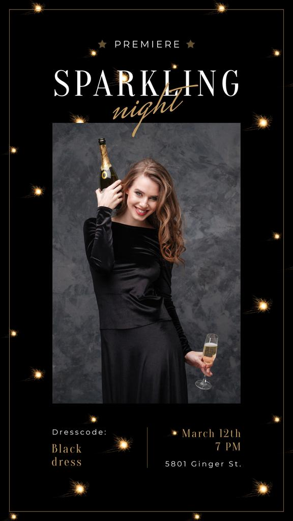 Woman in holiday dress holding champagne — Create a Design