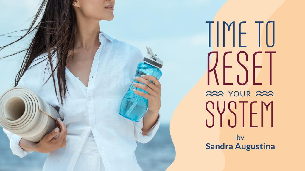 Wellness Program Ad Woman with Bottle and Mat — Maak een ontwerp