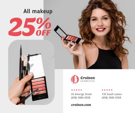 Plantilla de diseño de Cosmetics Sale with Beautician applying Makeup Facebook