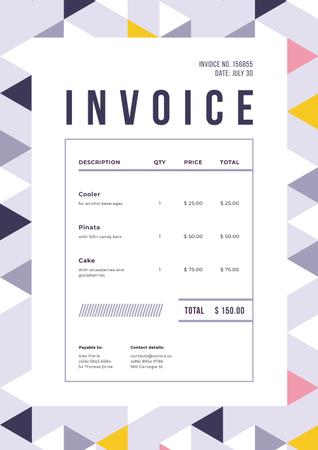 Plantilla de diseño de Party Celebration Bill in Triangular Abstraction Frame Invoice
