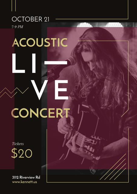 Concert Invitation with Man playing Guitar Poster Design Template
