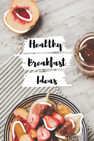 Modèle de visuel Healthy Breakfast with berries - Tumblr
