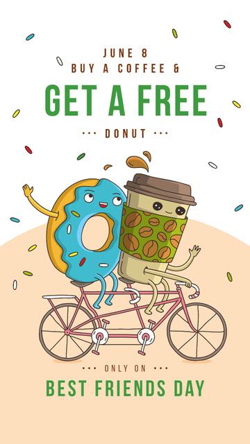 Coffee cup and Doughnut riding Bicycle Instagram Story – шаблон для дизайну