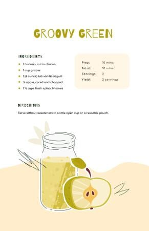 Apple Juice in Bottle Recipe Card Modelo de Design