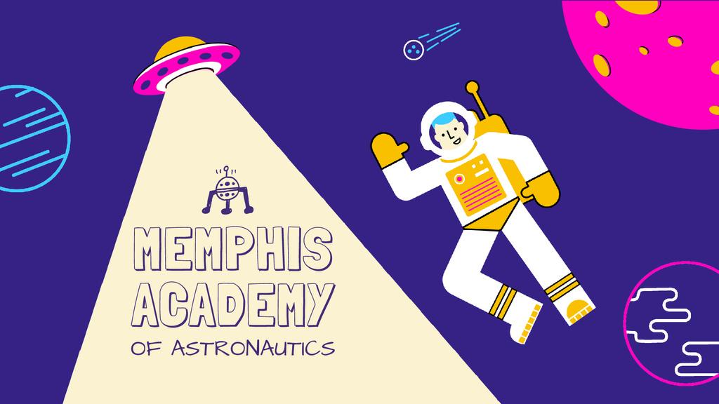 Astronaut in space with UFO — Modelo de projeto