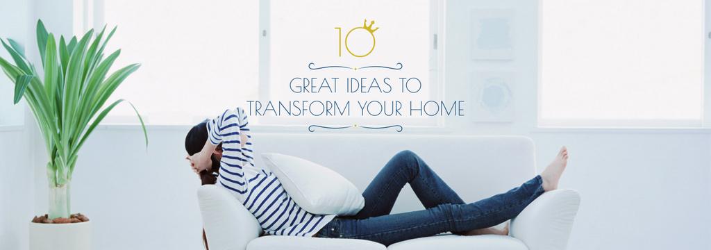 Real Estate Ad Woman Resting on Sofa — Créer un visuel