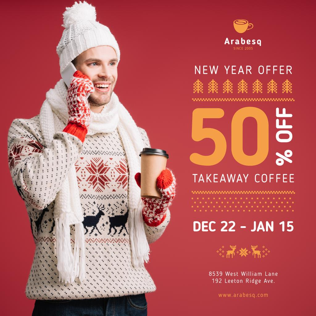 New Year Offer Man with Takeaway Coffee — Modelo de projeto