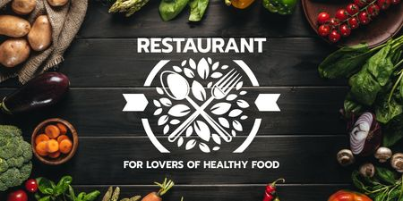 Ontwerpsjabloon van Twitter van Restaurant for lovers of healthy food