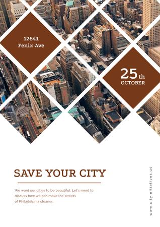 Save your city event announcement Poster Modelo de Design