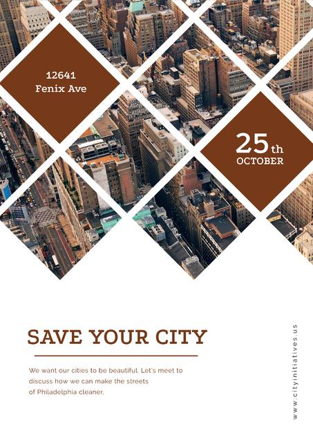 Save your city event announcement Poster Design Template